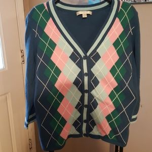 Liz Claiborne argyle sweater 3/4 sleeves S